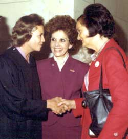 U.S. Supreme Court Justice Sandra Day O'Conner (far left) greets Roxcy Bolton (far right)